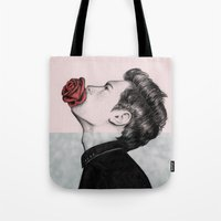 mouth Tote Bags featuring Mouth Flower by Sofia Azevedo