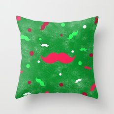 Christmas Mustache Red Green Polka Dots Pattern Throw Pillow