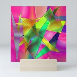 Green Shards on Hot Pink Mini Art Print