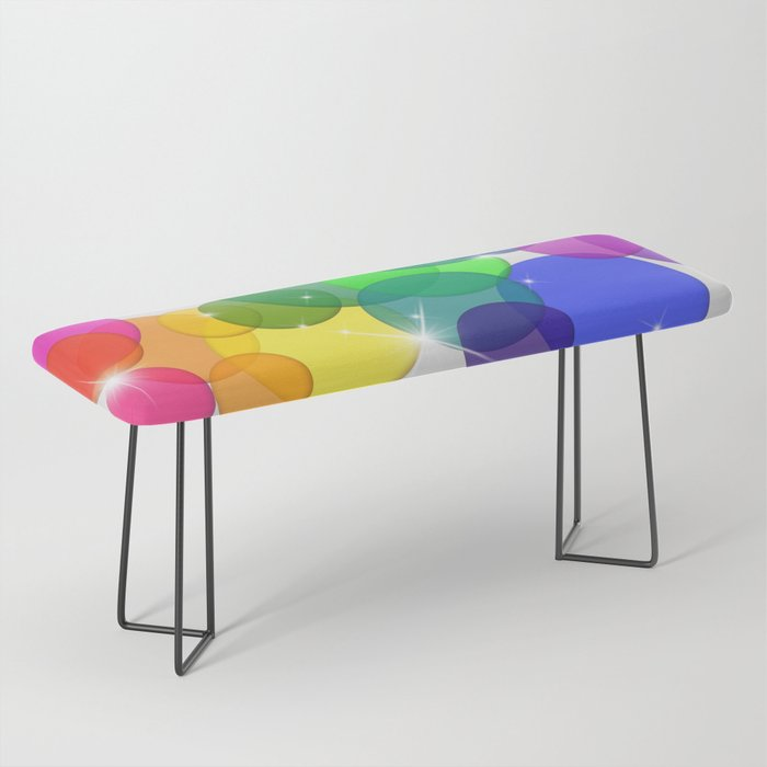 Translucent Rainbow Colored Circles with Sparkles - Multi Colored Bench