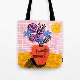 Just Kidding - memphis retro 80s throwback modern still life abstract floral flower vase Tote Bag