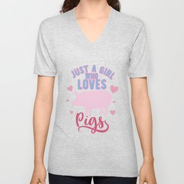 Just A Girl Who Loves Pigs Cute Pink Heart  design Unisex V-Neck