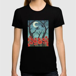 crows, fireflies, and poppies in the moonlight T-shirt