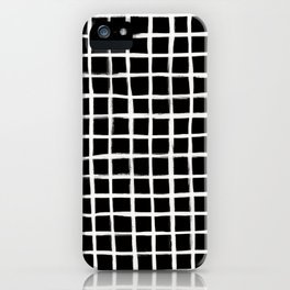 Strokes Grid - Off White on Black iPhone Case