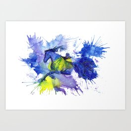 Watercolor and Ink Horse Art Print
