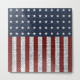 USA American Flag Rustic Jute Style 4th July Decor Metal Print