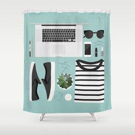 Flatlay Illustration Shower Curtain