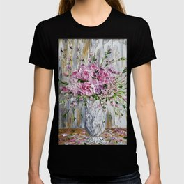 Pink Peonies in white vase painting T-shirt