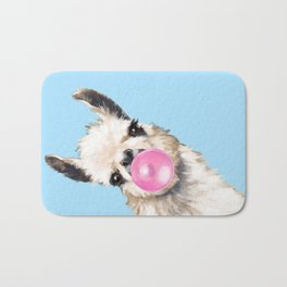 Bubble Gum Sneaky Llama in Blue Bath Mat