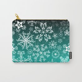 Symbols in Snowflakes on Winter Green Carry-All Pouch