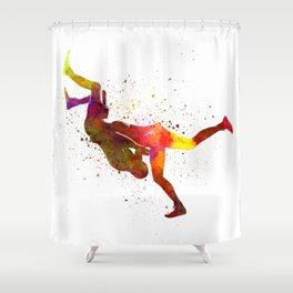 Wrestlers wrestling men 02 in watercolor Shower Curtain