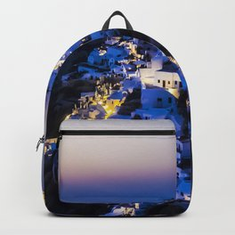 Santorini Island NightView Greece Backpack