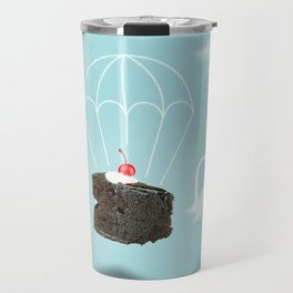 Isolated Chocolate cherry cake with parachute on blue sky background Travel Mug