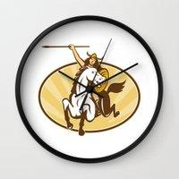 mythology Wall Clocks featuring  valkyrie of Norse mythology female rider warriors by patrimonio