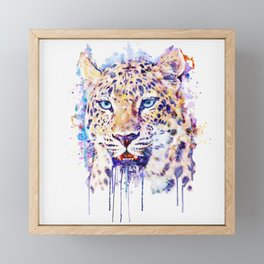 Watercolor Leopard Head Framed Mini Art Print