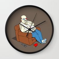 potato Wall Clocks featuring Couch Potato by Pigboom Art