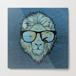 Stylish Lion Design with Moroccan Leather background Metal Print