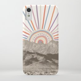 Bohemian Tribal Sun / Abstract Vintage Mountain Happy Summer Vibes Retro Colorful Pastel Sky Artwork iPhone Case