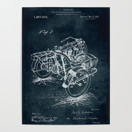 1913 - Side car attachment for motor cycles Poster