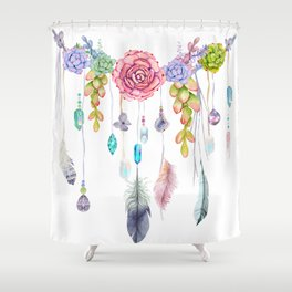 Spirit Gazer With Crystals And Succulents Shower Curtain