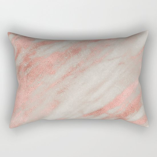 Smooth rose gold on gray marble Rectangular Pillow
