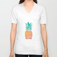 pineapple V-neck T-shirts featuring Pineapple by Rendra Sy