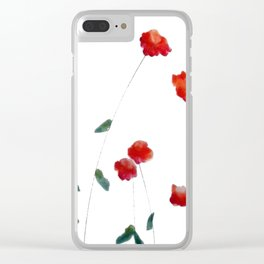 Red flowers in the snow Clear iPhone Case