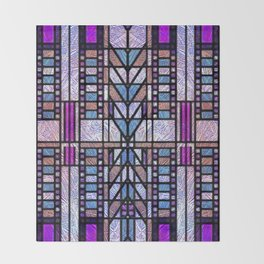 Purple and Blue Art Deco Stained Glass Design Throw Blanket