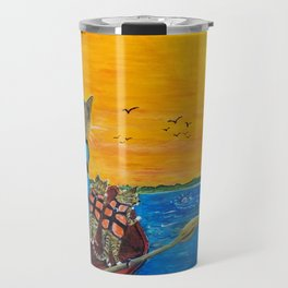 Cats in a boat watching dolphins Travel Mug