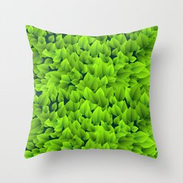 Green leaves pattern Throw Pillow