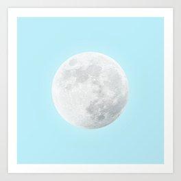 WHITE MOON + BLUE SKY Art Print