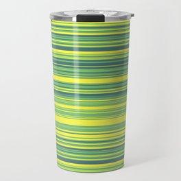 Yellow Lime Candy Lines Travel Mug