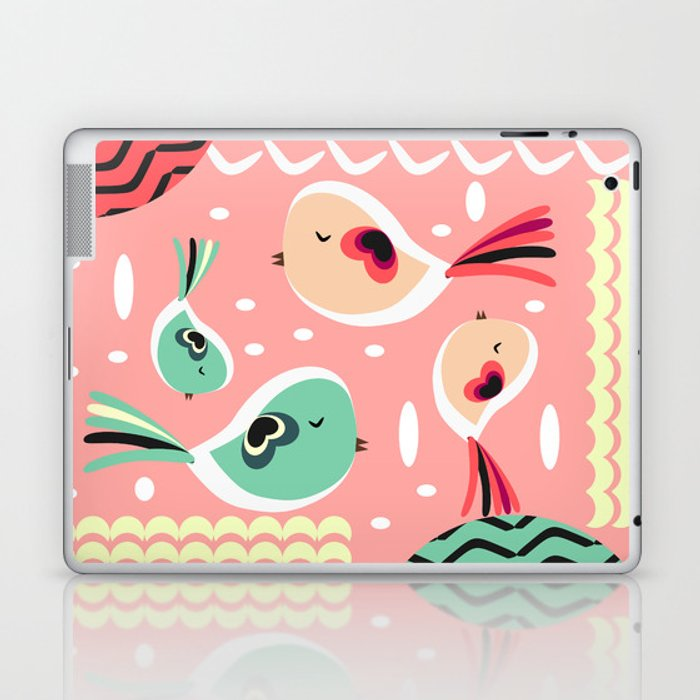 13232eb75e28 Funny birds in pink and blue Laptop & iPad Skin by cocodes | Society6