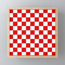 Checker Texture (Red & White) Framed Mini Art Print