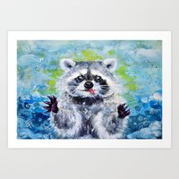 raccoon Art Prints featuring Raccoon by Alina Rubanenko