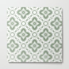Sage and Cream Boho Tile Pattern Metal Print