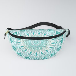 White Mandala on Blue Green Distressed Background with Detail and Textured Fanny Pack