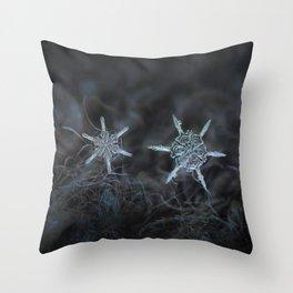 Real snowflake macro photo - When winters meets Throw Pillow