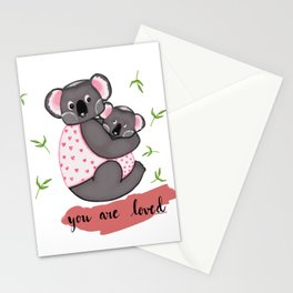 Cute Koalas in jackets Stationery Cards