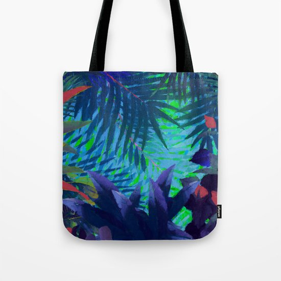 Colorful abstract palm leaves Tote Bag
