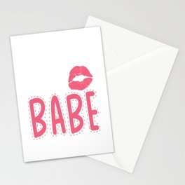 not your babe not your girlfriend kiss mouth Stationery Cards