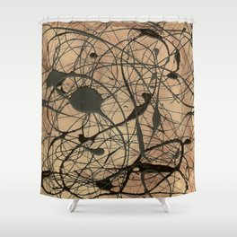 Pollock Inspired Abstract Black On Beige Corbin Art Contemporary Neutral Colors Shower Curtain
