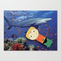 aquaman Canvas Prints featuring Aquaman Vs. Shark by Jen Talley