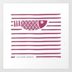 PIXE 1 (dark pink) Art Print