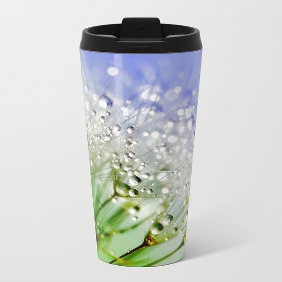 Sparkling drops on a Dandelion- Abstract blue flower Metal Travel Mug