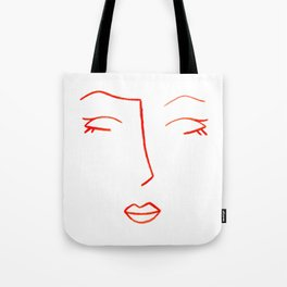 Orange Sleeping Beauty Minimalist Abstract Womankind Minimal Line Drawing Womans Face Tote Bag