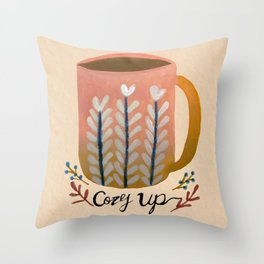 Hand Painted Cozy Up Cup  Throw Pillow