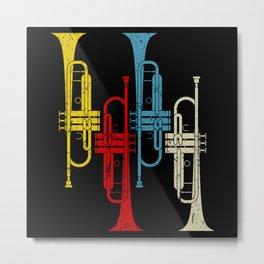 Retro Trumpet Musician Trumpeter Jazz Metal Print