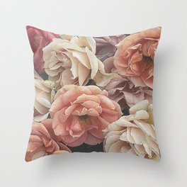 Great Garden Roses,peach Throw Pillow