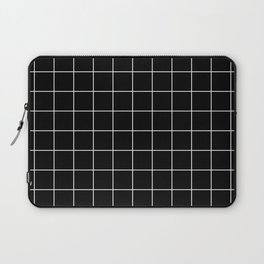 Grid Line Stripe Black and White Minimalist Geometric Laptop Sleeve